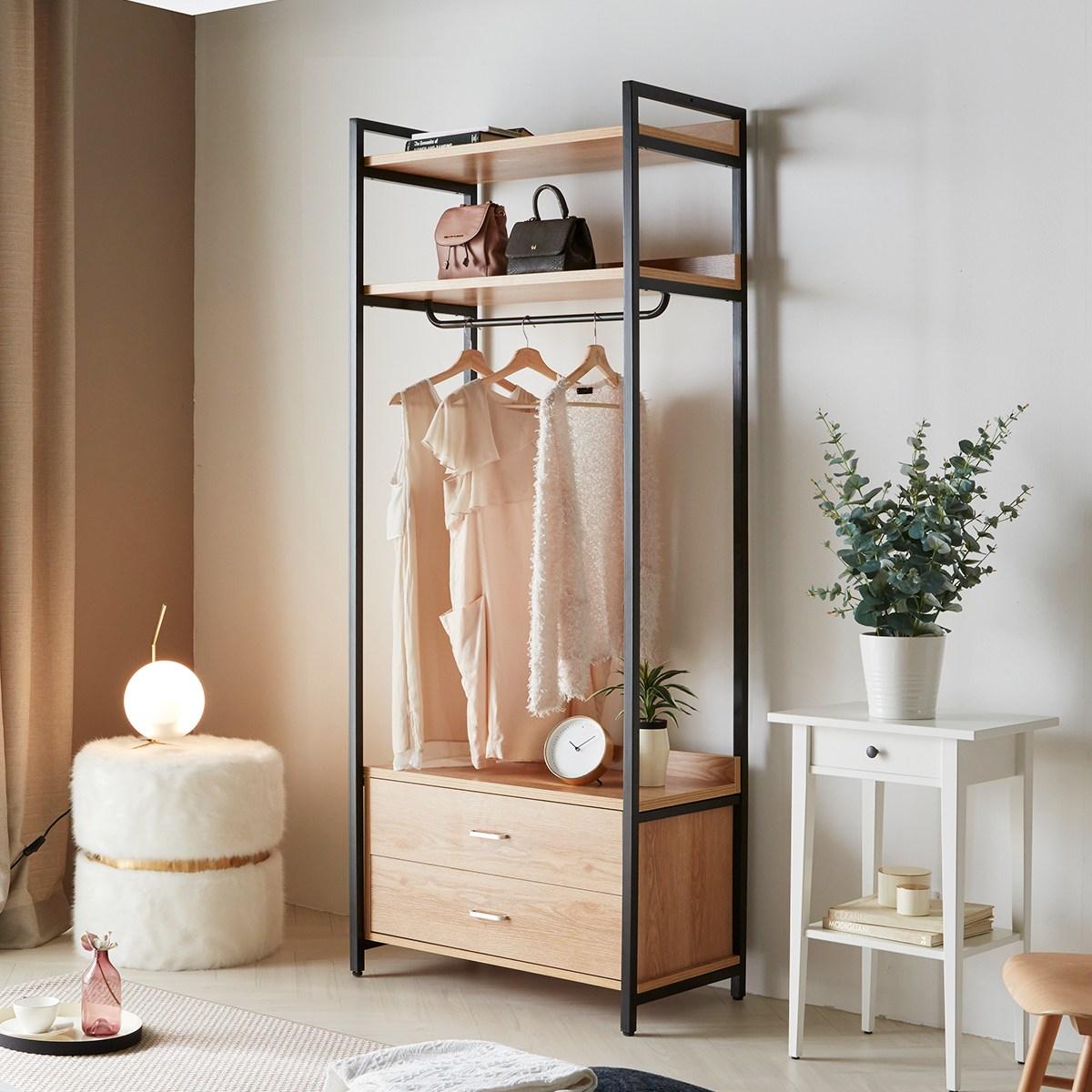 소티디자인 라움 스틸 2단 서랍형 행거 옷장 800 시스템옷장 드레스룸, 단일색상