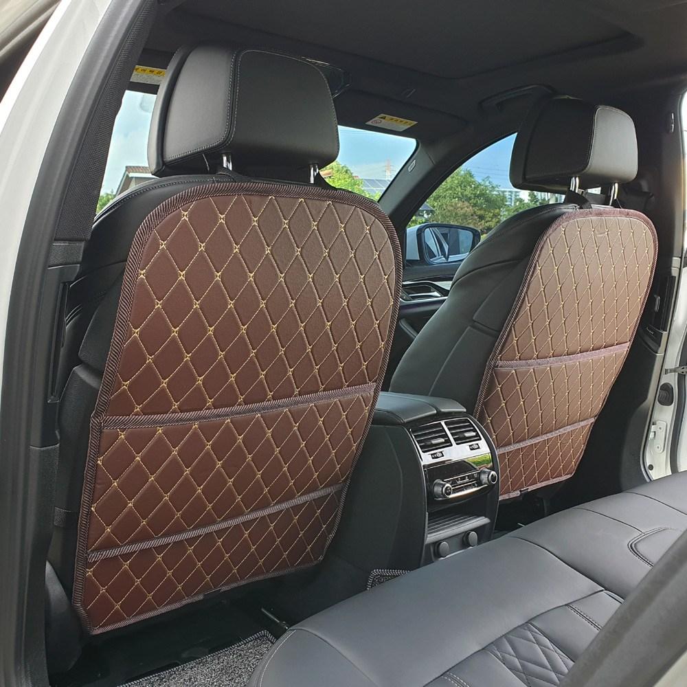 커스텀 킥매트 포켓 업그레이드형 자동차시트커버 2P, 브라운