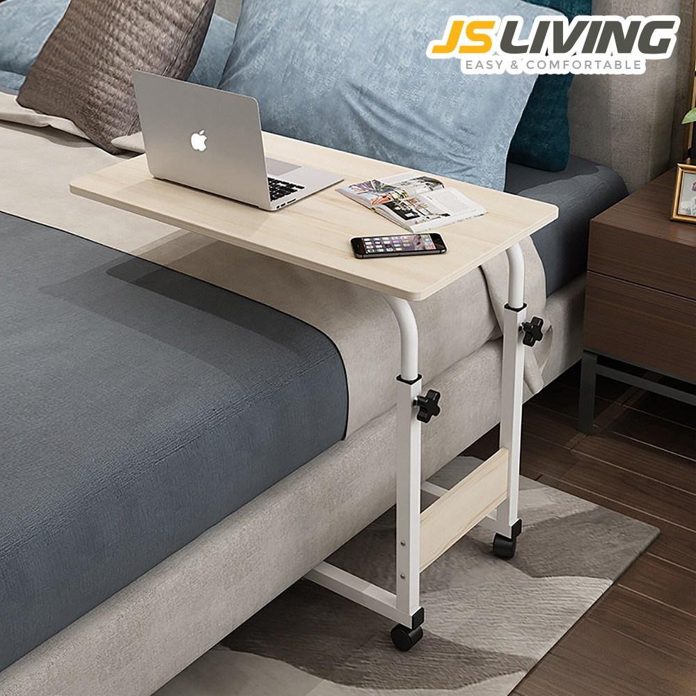 사이드 테이블 일자형 이동식 침대 쇼파 협탁 원목 접이식 거실 티 좌식 미니 침실 베드 트레이 철제 높이조절 바퀴 데스크 각도조절 조립식 컴퓨터 노트북 사무실 전면 간이 책상, 토스카 테이블