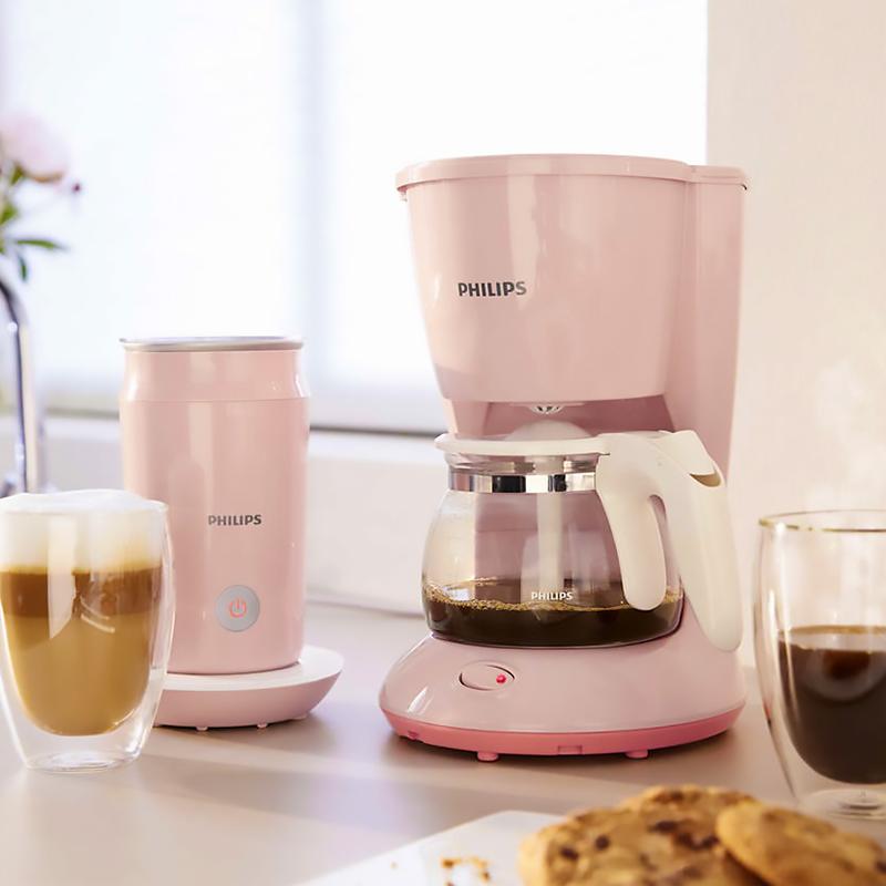 Philips Philips HD7431 미국 가정용 커피 머신 전자동 소형 드립 커피 메이커, 분홍