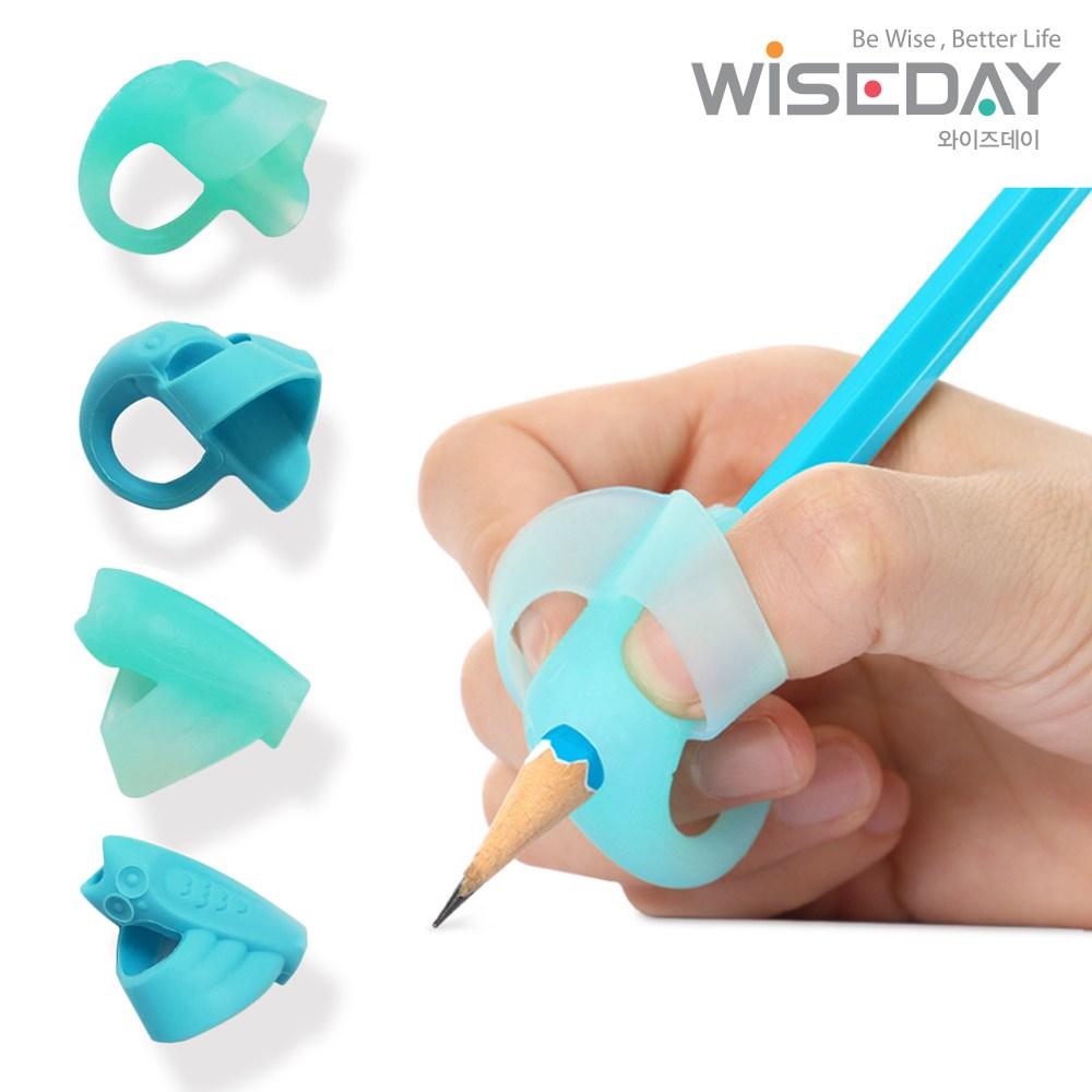 와이즈데이 [2020년형] 유아 어린이 연필 글씨 교정기 [ 2P+2P ] 연필잡는법 연필그립 (교정용), 코끼리+올빼미/블루, 1개