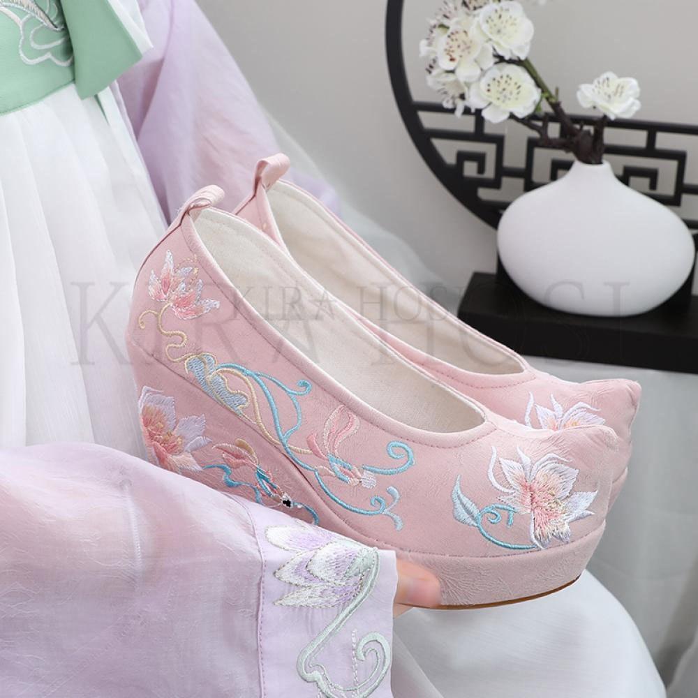 kirahosi 웨지 힐 키높이 스니커즈 여름 여성 샌들 하이힐 통굽 신발 예쁜 슈즈 4 5 MW+ 덧신 증정