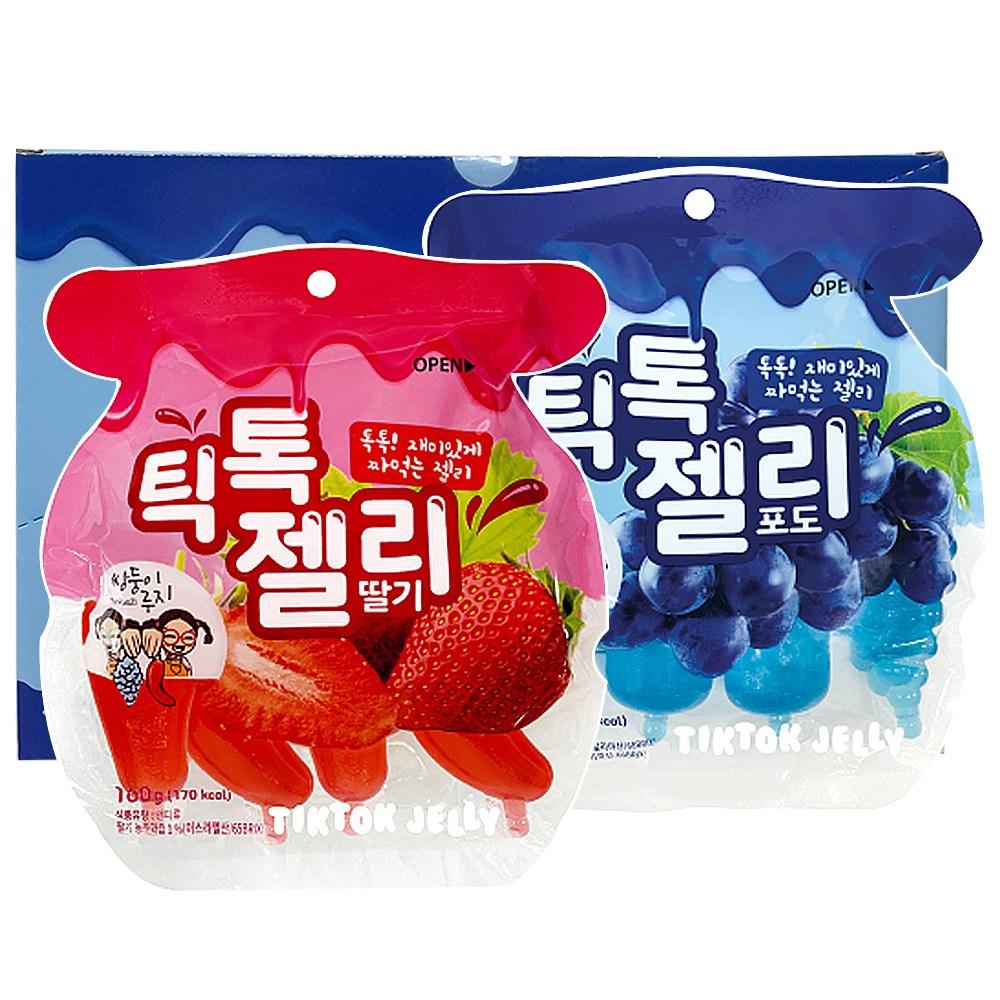 HACCP인증 틱톡젤리 딸기 160g 4개+포도 160g 4개 - 1케이스