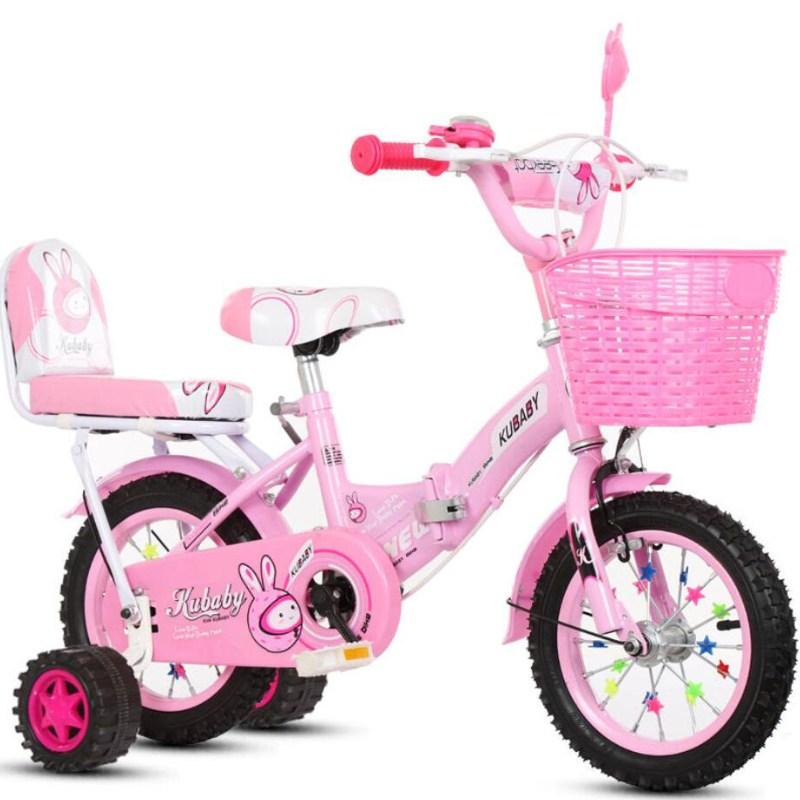 칠나무 아동용자전거 2-8세 접이식 스포츠 보조바퀴 자전거 12 14 16 18 촌QDD0923-6, 88cm, 핑크BP