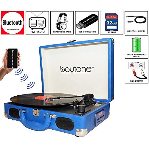 Boytone BT-101BL Bluetooth Turntable Briefcase Record player AC-DC Built in Rechargeable Battery 2 Stereo Speakers 3-speed LCD Display FM Radio U