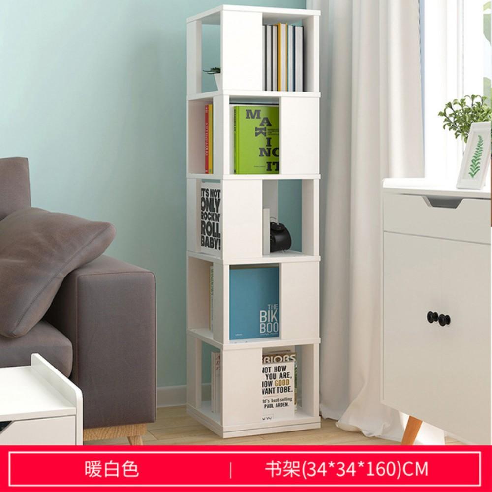 회전 슬라이딩 책장 북타워 북선반 DIY, 섹션 5 층 따뜻한 흰색