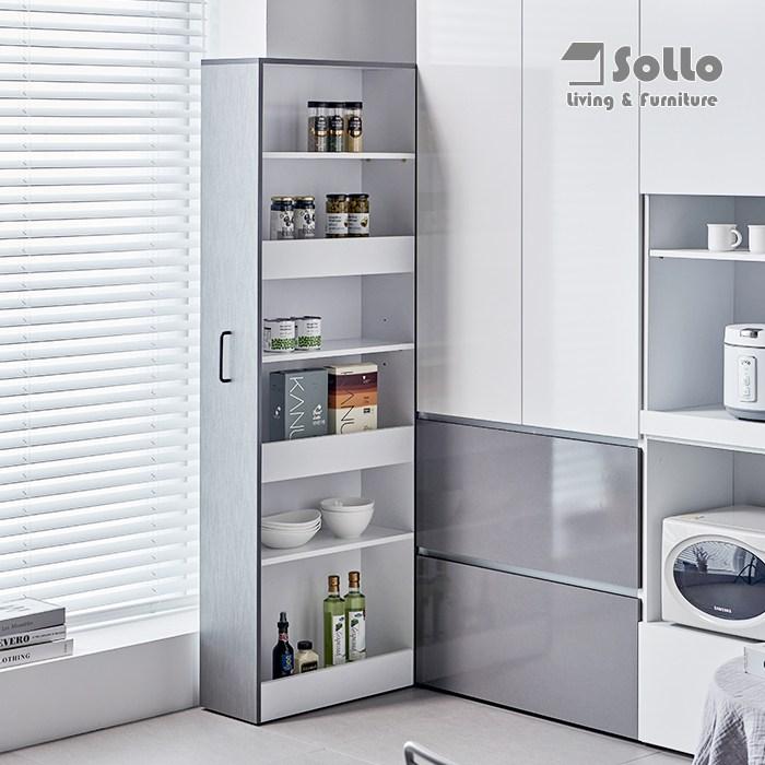 [솔로리빙] 멀티틈새장1760SIZE 냉장고틈새장 다용도 슬라이딩 주방 수납장 선반장 틈새수납장, 그레이(1760SIZE)
