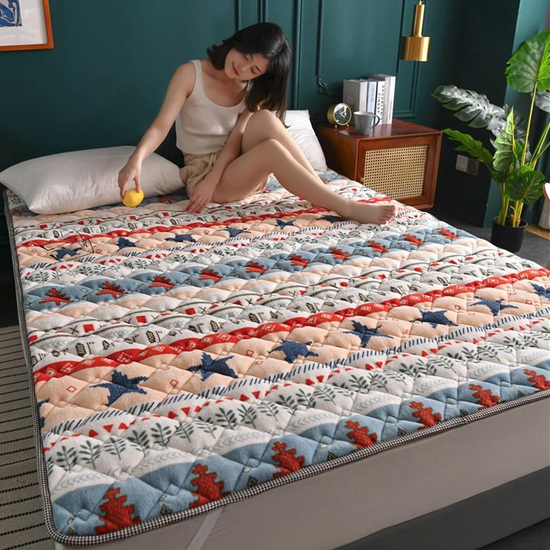 토퍼 템퍼 매트리스 침구 기타 겨울 쿠션 접이식 침대 기모 융털 매트, AB_1.0 x 2.0m