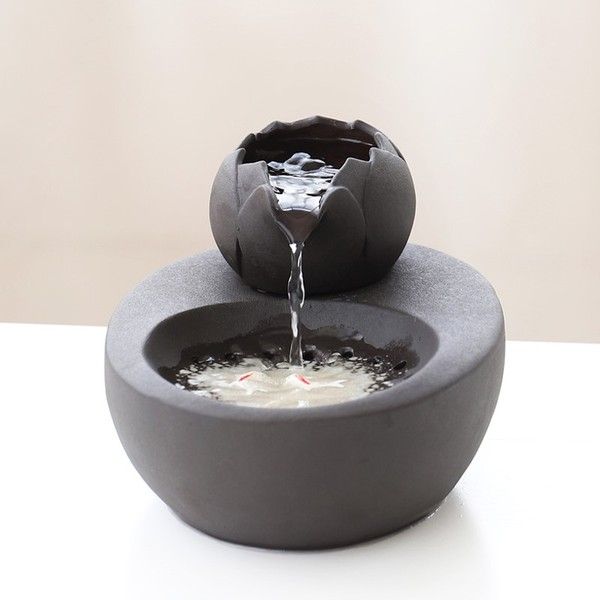 도자기 고양이 흐르는 물그릇 급수기, 블랙 세라믹 식수