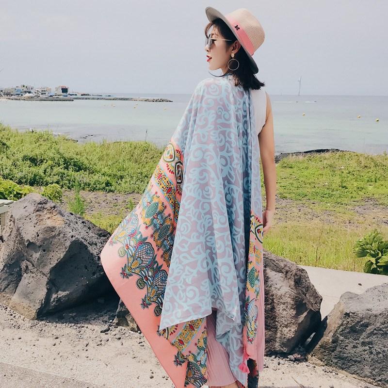아름드리스토아 스카프 스승의날 에스닉 무드 숄여름 얇은 외매치 여성 해변 비단스카프 비치 수건
