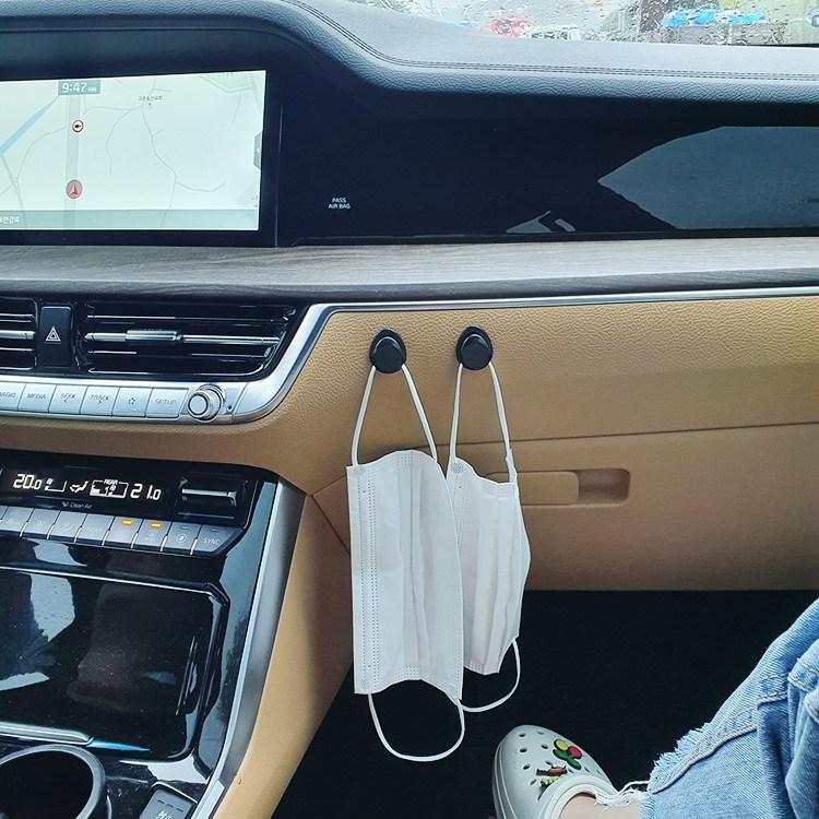 [투썬빌리지] [4P세트] 까만콩 차량용 마스크걸이, 1개, 단일색상