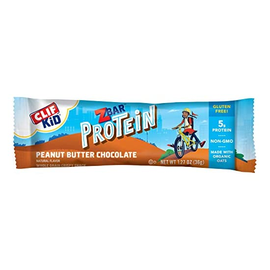 Clif Bar 클리프바 Kid Zbar 프로틴 그래 놀라 바 땅콩 버터 초콜릿 맛 1.27 온스 글루텐 프리 바 도시락 스낵 5 개, 1개, 1개