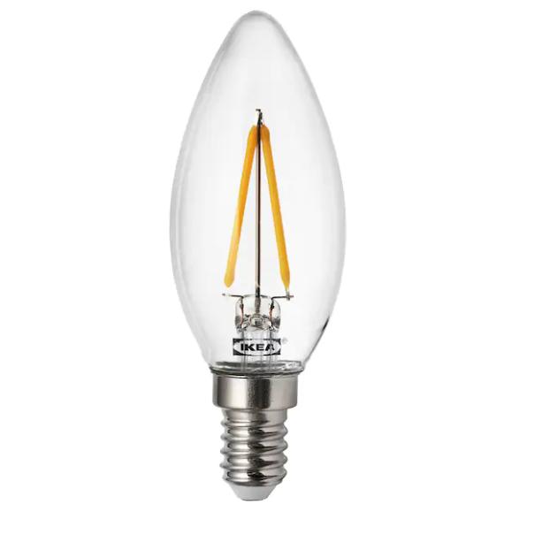 이케아 RYET E14 200루멘 LED전구, 1개, 전구색