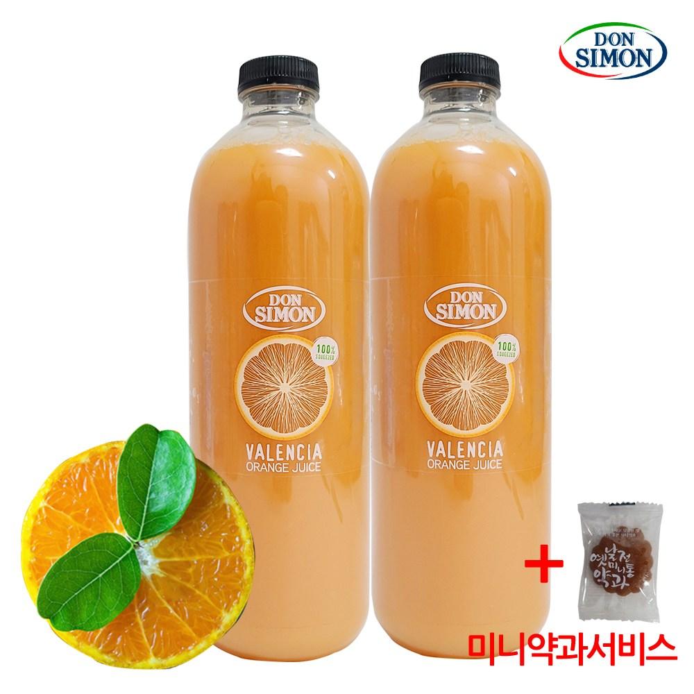 코스트코 돈시몬 발렌시아 오렌지주스 100% 무가당 착즙+미니약과1개서비스, 2개, 1L