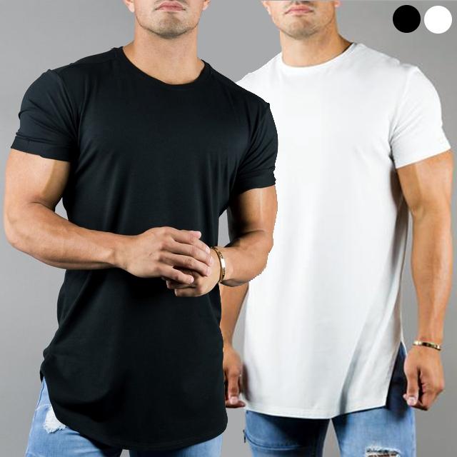GUSTORE 무지 머슬핏 짐웨어 라운드넥 반팔 티셔츠