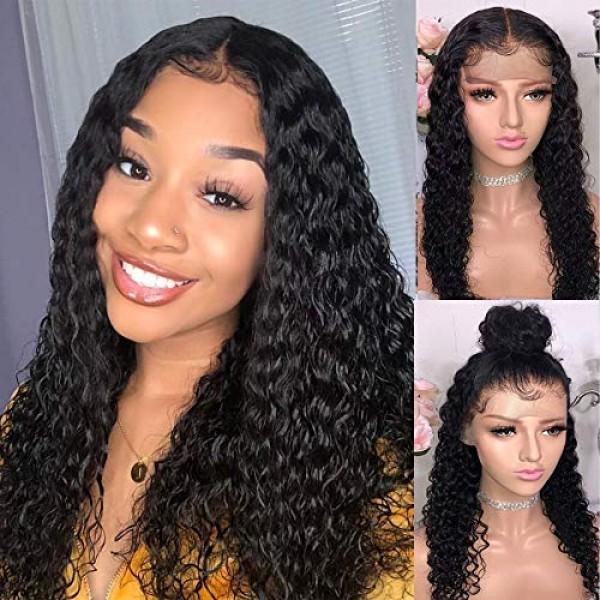 Newa Hair 360 Lace Frontal Wig 180 % Density 360 Lace Wig 곱슬 인모 가발 Pre Plucked w, 단일상품, 단일상품
