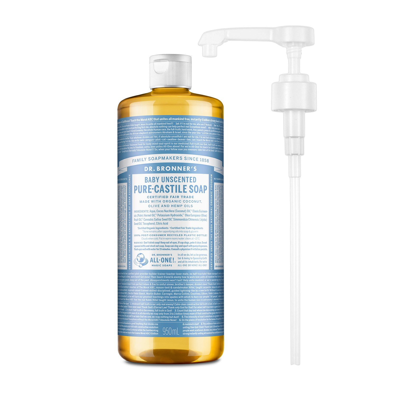 닥터브로너스 퓨어 캐스틸 솝 베이비 950ml + 전용펌프, 단품