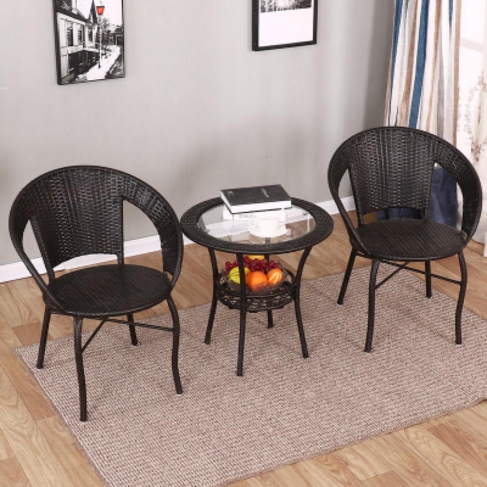 미니멀리즘 카페 티 등나무 라탄 테이블 선반 협탁 사이드 거실 의자 체어 2인세트 전원주택 정원 야외 테라스 꾸미기 부부 인테리어 커피, 의자 2 개와 테이블 1 개