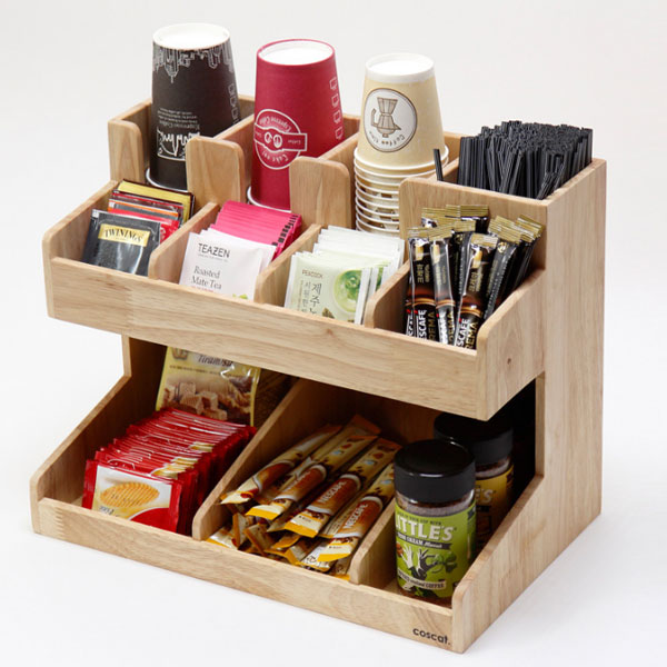 (DB09) 수납대(4구3단)_커피용품수납 원목수납함 선물, 원목수납대