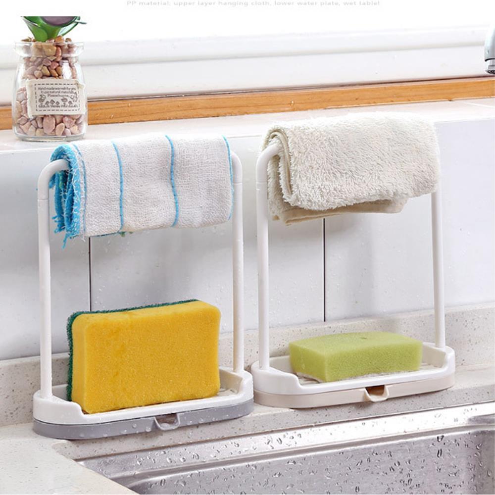 싱크대 물빠짐 비누 받침대 수세미걸이 1+1 씽크대걸이 디자인 주방소품, 베이지