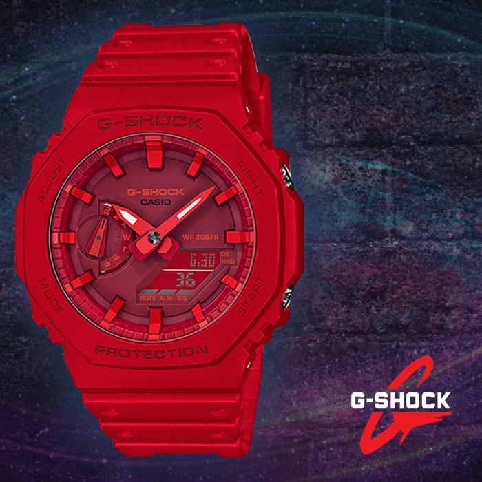 [G-SHOCK] 지샥 GA-2100-4A 지얄오크 카본코어가드 레드 우레탄 손목시계