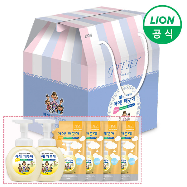 [라이온코리아] 아이깨끗해 선물세트 250ml용기 2개 + 200ml리필 4개 (순/레몬/, 제품선택:250ml용기 2개+200ml리필 4개 (레몬), 상세 설명 참조