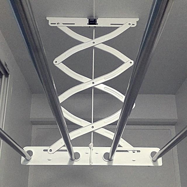 공간채움 [배송] 스테인레스봉 베란다 천장 빨래건조대 3단1.9m, 1개