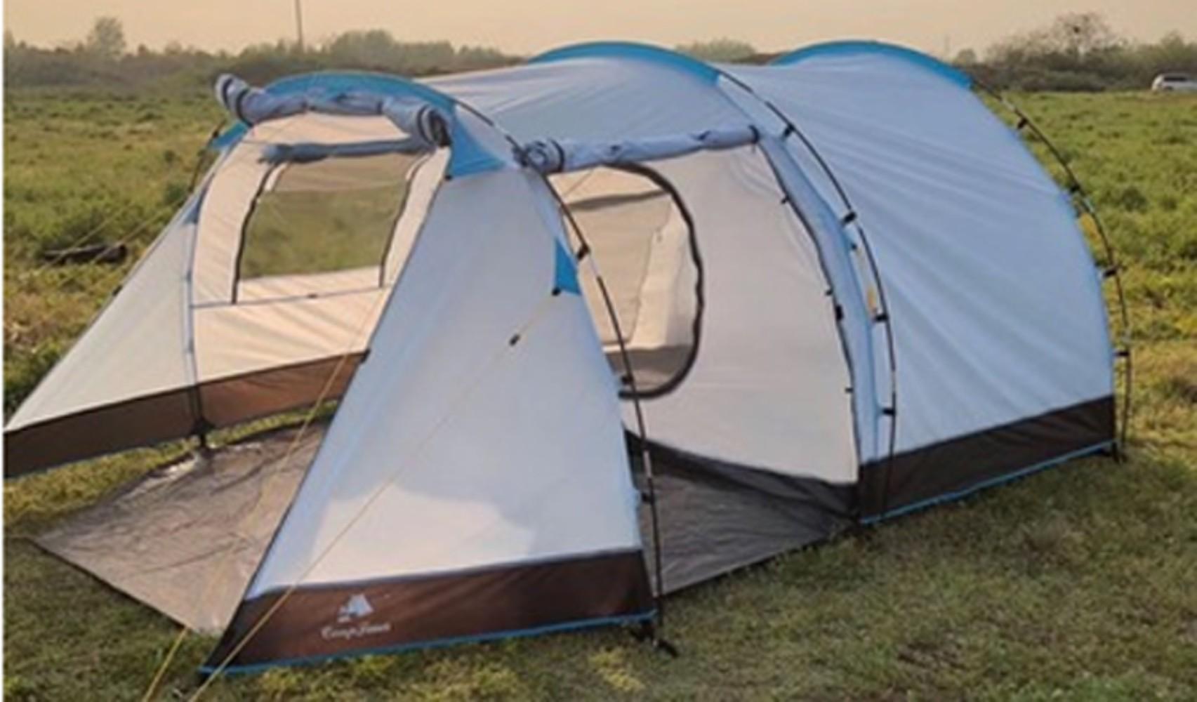 백패킹 터널형 오토 캠핑 텐트 쉘터 베스티블 전실 포함, 하늘색 유리 섬유 막대