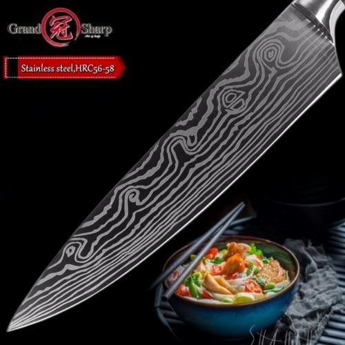 해외직구 주방용 나이프 8인치 프로 키친 일본 다마스커스 패턴 하이 탄소 스테인리스 스틸 선물용 나이프, pattern 1