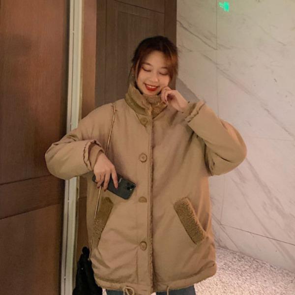가바바 여자 겨울 숏무스탕 귀여운 스타일 양면 터틀넥 빅 포켓 데일리 양털무스탕 G41193
