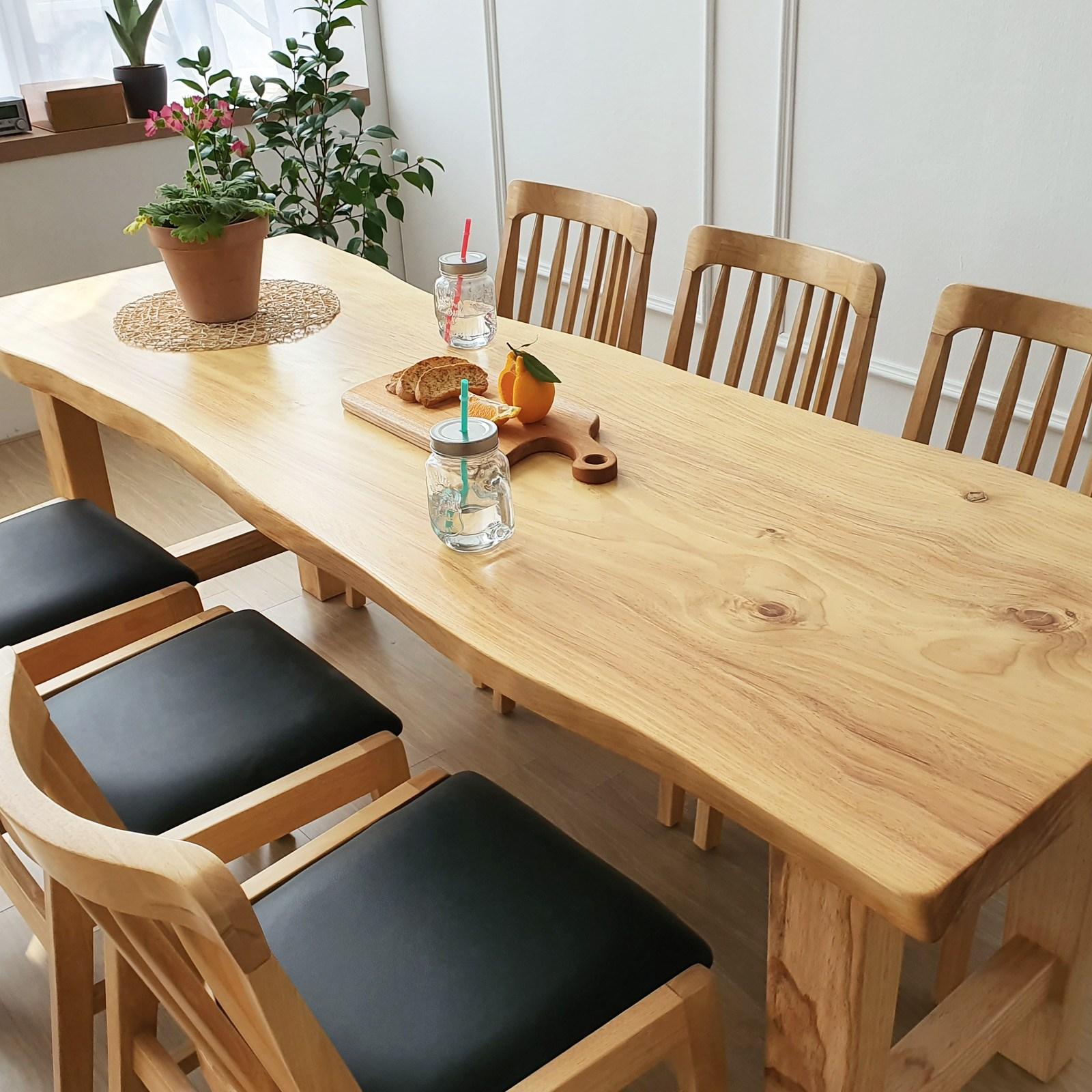 해찬솔 통원목 아트 원목식탁 테이블 2000_w700_tr 통원목다리 원목책상 우드슬랩 카페테이블, 베이지색