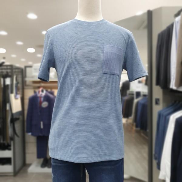 본 본(BON)S/S 2019 블루 안감 체크 배색 포켓 솔리드 티셔츠 BN9MTS467