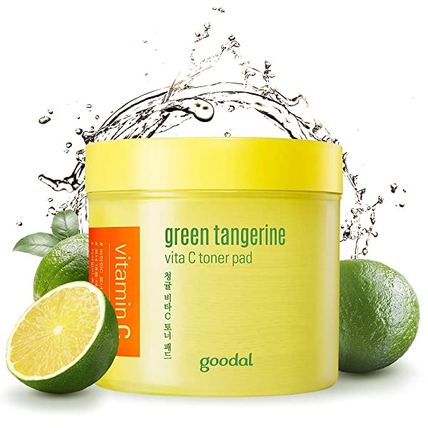 Goodal Green Tangerine Vitamin C Toner Pads with '5-IN-1' Effect | Exfoliates Tones Brightens Moi, 단일상품