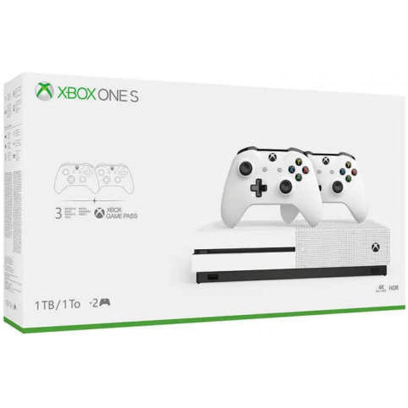 Xbox One S 2 개 컨트롤러 번들 (1TB) Xbox One S 2 개의 무선 컨트롤러 1 개월 게임 패스 평가판 14, 1, 단일상품