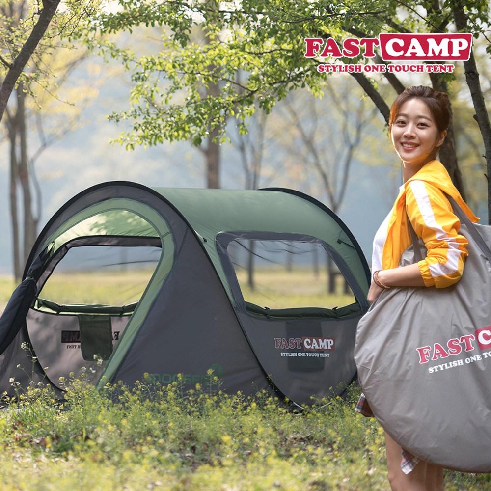 패스트캠프 오페라3 원터치 텐트 3-4인용, 올리브그린