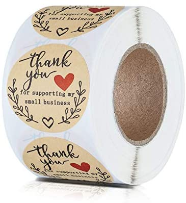 [해외직구]ZWZIOO 2 Thank You for Supporting My Small Business Stickers Classy Retro Sticker for Ba, Brown_2 inch, 1개, Brown