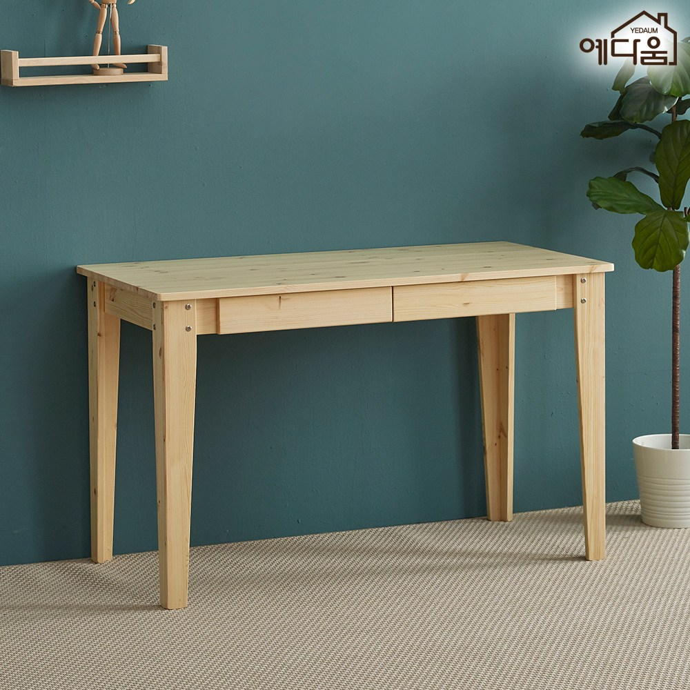 예다움 나무 수제 원목 컴퓨터 책상 서랍형 무도장 1200, 원목책상(서랍형-무도장): 1200x600