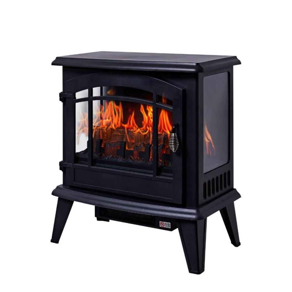 겨울캠핑난방 무동력팬 온풍순환 3D 불꽃 시뮬레이션 콘솔 인테리어 전자 벽난로 스토브 동계 캠핑난로 화목 난로, DNSD506-20B 블랙
