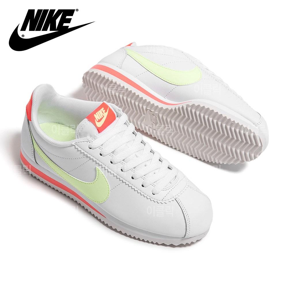 나이키 클래식 코르테즈 레더 화이트 볼트 여성 스니커즈 운동화 신발
