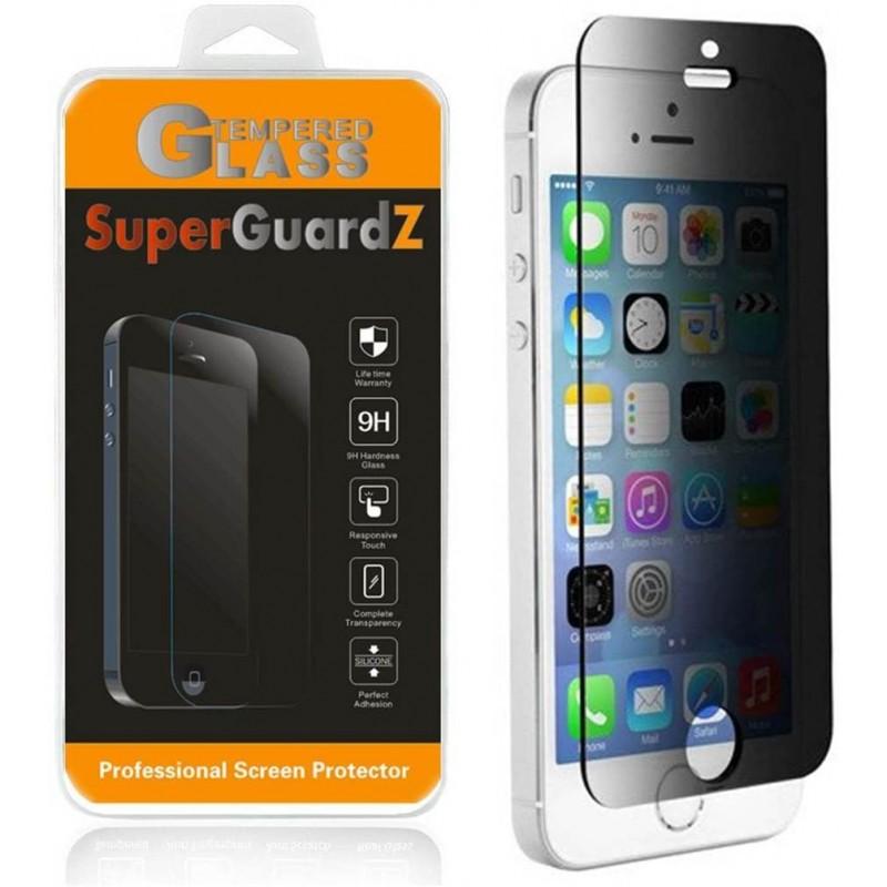 [2 팩] iPhone SE (1 세대) / 5S / 5C / 5-SuperGuardZ 개인 정보 보호 안티 스파이 강화 유리 화면 보호기 9H 0.3mm 2.5D, 1