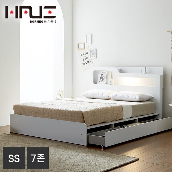 보루네오하우스 프라임 올슨 LED 서랍 SS 침대+7존독립매트 DM6218, 화이트