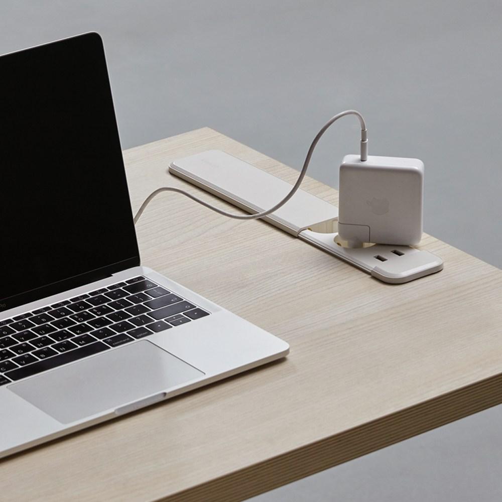 [데스커] 1인 노트북 책상 (빌트인 콘센트) 1200x600, 화이트+화이트