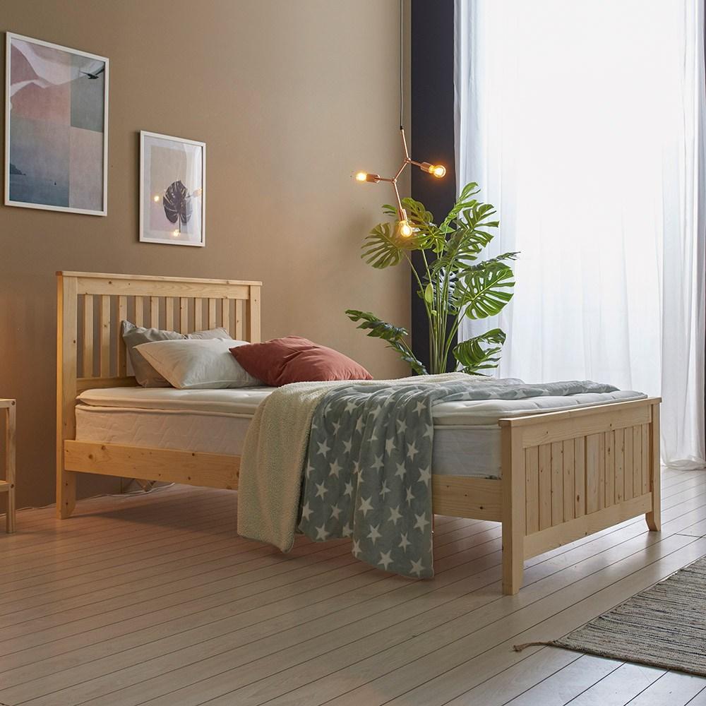 베스트우드 피란체 천연도료 소나무 원목 침대프레임 슈퍼싱글 퀸, 내추럴