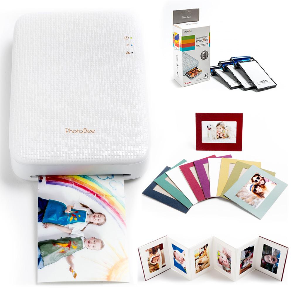 포토비 휴대용 포토프린터 패밀리 패키지, 핑크(프린터+인화지1박스+폴딩앨범1개+컬러액자(10장))