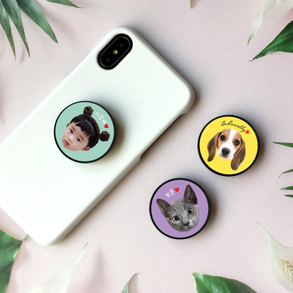 요술램프지니 [2+1] 페이스 주문제작 스마트톡 커플 커스텀 아기얼굴 반려동물 강아지 고양이 포토 차량용 호환사용ok, 퍼플, 1개