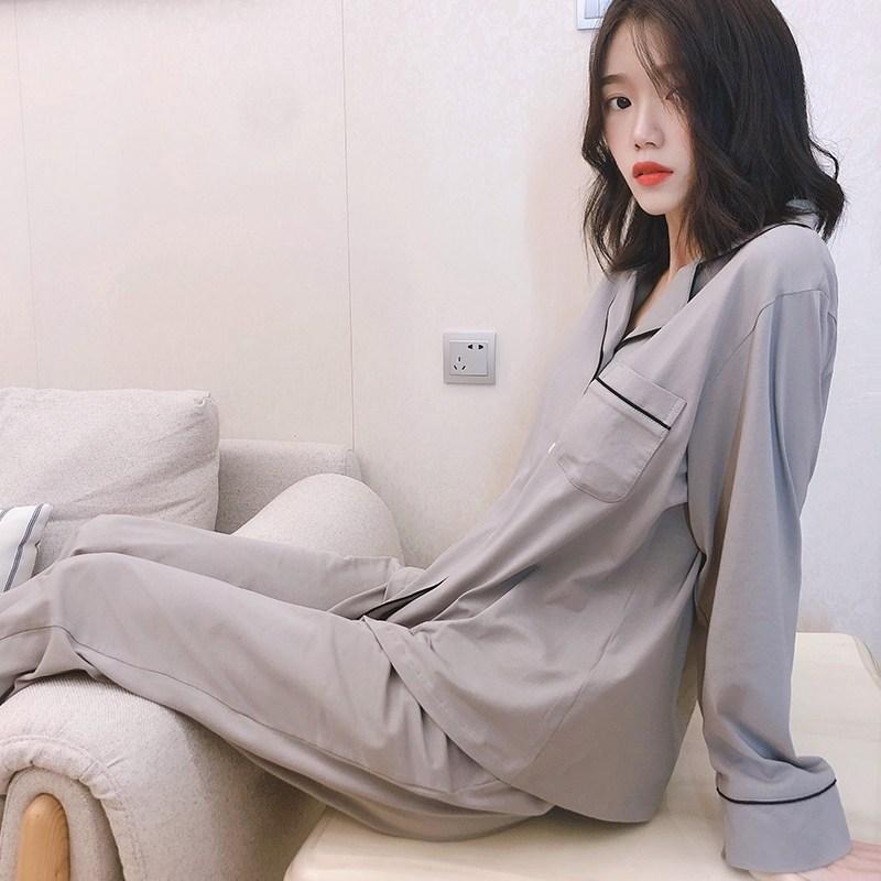 커플 잠옷 파자마 세트 무인 질좋은 수면 양품 일본인 커플 잠옷 여성 봄과 남성 11