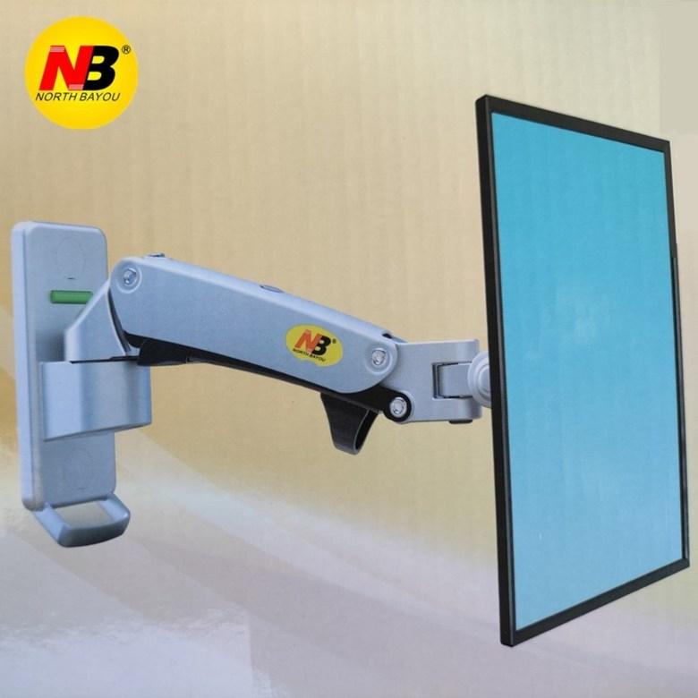 벽부착식 모니터 거치대 암 NB F120 17 27 알루미늄 좁은공간 모니터 스탠드 가스 스프링 360 회전 풀, 싱글암실버17-27인치하중2-7KGF120