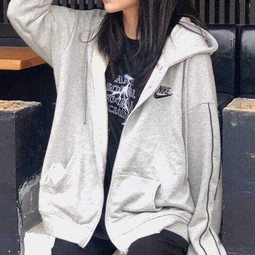 해외 남녀 나이키 바람막이 후드집엎 후드티셔츠 스우시 윈드러너 우븐 자켓 남성 여성 NiKe Nike 자켓 남성용 사계절 여성용 지퍼 후드 그레이 스웨터 커플 캐주얼 행운