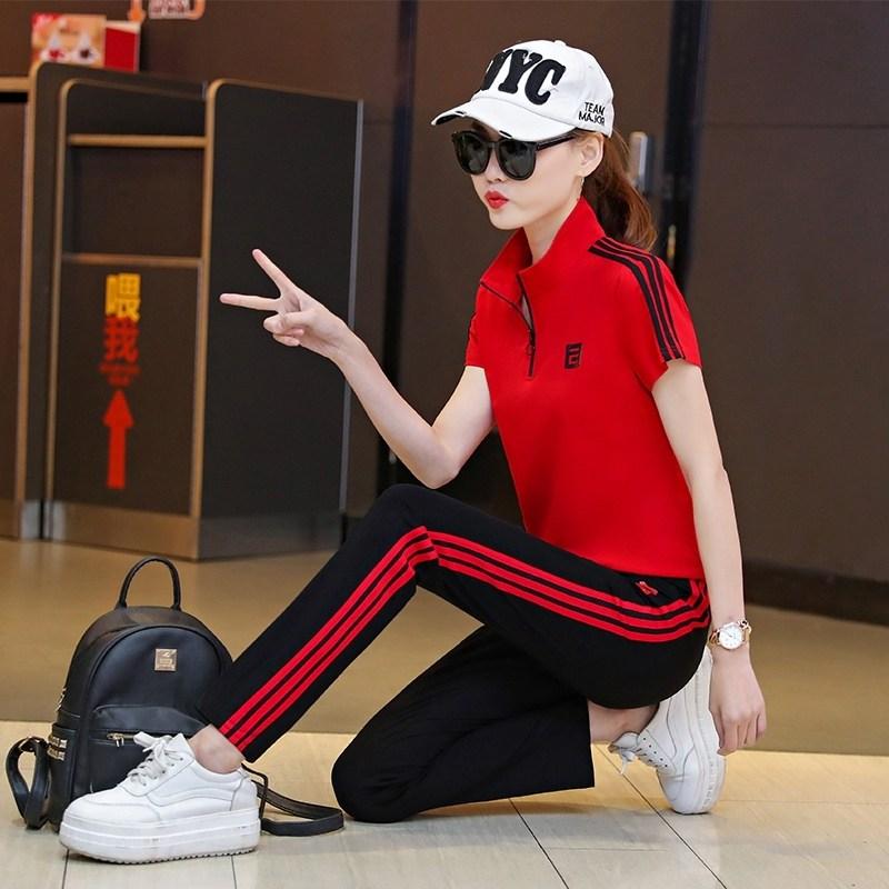 트레이닝복세트 운동복 여성여름옷 2020년정품 여름시즌 트렌디한브랜드 순면 유행패션 유럽풍 러닝 캐주얼 투피스 여름옷