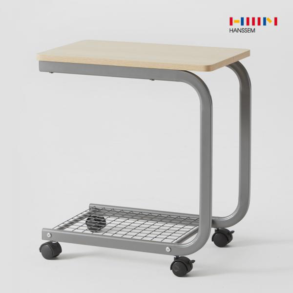 한샘 비앙 이동식 테이블 (커브형) 2단 선반 철제 사, 01.비앙 이동식 테이블(커브형)